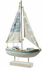 Segelschiff mit LED Beleuchtung - Höhe 42cm - Material: Holz - Batteriebetrieben - Farbe: Weiß / Blau - Maritime Dekoration