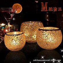 SEHBDY Kerzenhalter Glas Mosaik Kerze Stick