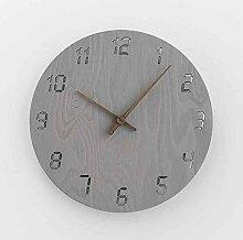 Sehen Sie Sich Die Uhr Einfachen Haushalt Schlafzimmer Wohnzimmer Moderne Mute Holz Im Garten, 12 Zoll, Vf Grau