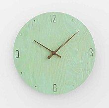Sehen Sie Sich Die Uhr Einfachen Haushalt Schlafzimmer Wohnzimmer Moderne Mute Holz Im Garten, 12 Zoll, Ve Grün