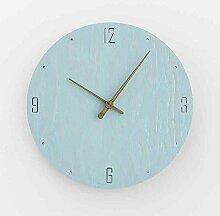 Sehen Sie Sich Die Uhr Einfachen Haushalt Schlafzimmer Wohnzimmer Moderne Mute Holz Im Garten, 12 Zoll, Ve Blau