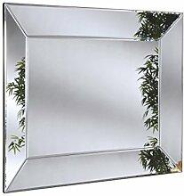 Sehnen, modernes Glas Tablett Effekt Spiegel, 91x 122cm, Silber