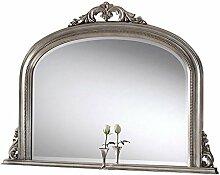 Sehnen, Perlen Blatt Kunstvoller über Mantel abgeschrägten Spiegel, 122x 91cm, silber
