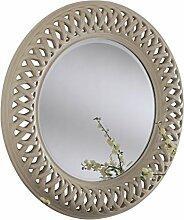 Sehnen, runder Spiegel, mit Roped Detail, 114x 114cm, elfenbeinfarben