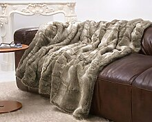 Sehr große Felldecke, Pelzplaid, Webpelzdecke Bär grau und beige Melange 260x300