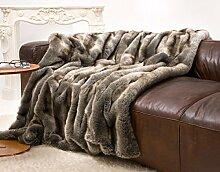 Sehr große Felldecke, Tagesdecke, Webpelzdecke Wolf grau-braun 240x260cm