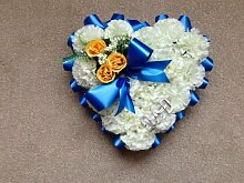 Seiden Blumen Herz Dad Blau Begräbnis Blumen