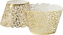 Seidenblumen, filigran Vintage bechercake Hülle umschließt Case Hollow Birthday, Heimwerker gold