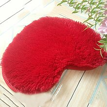 Seidenhaar Herzförmig Bedside Teppich Wohnzimmer Schlafzimmer Teppich Küche Badezimmer Wasseraufnahme Teppich , red , 50*60cm