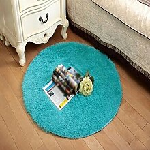Seidenhaar Teppich Teppich Runden Korallen Samt Teppich Computer Kissen Zelt Pad Korb Pad , blue , 100*100cm