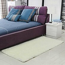 Seidenhaar Teppich Teppich Türmatten Wohnzimmer Bedside Schlafzimmer Yoga Teppich Badezimmer Rutschfeste Matte , meters white , 80*120