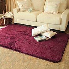 Seidenhaar Teppich Wohnzimmer Schlafzimmer Kaffetisch Bedside Teppich Badezimmer Teppich Die Tür Teppich , wine red , 50*80cm