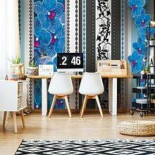 Seidenmatte Fototapete Blumenmuster mit blauen