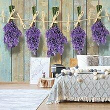 Seidenmatte Fototapete Lavendel auf bemalten