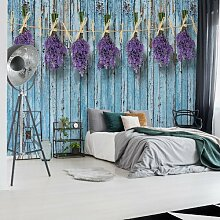 Seidenmatte Fototapete Lavendel auf blauen
