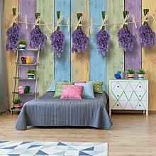Seidenmatte Fototapete Lavendel auf bunten