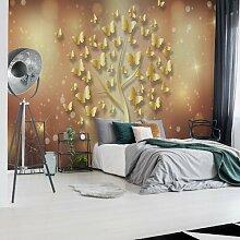 Seidenmatte Fototapete Modern Butterfly Tree Gold