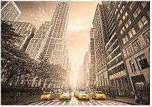 Seidenmatte Fototapete New York Taxi - Sepia East