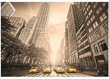 Seidenmatte Fototapete New York Taxi - Sepia