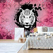 Seidenmatte Fototapete Tiger Psychedelic Design