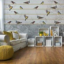 Seidenmatte Fototapete Vintage Chic Vögel und