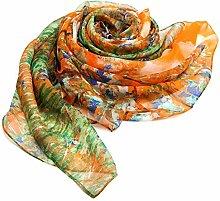 Seidentücher Mädchen Herbst Winter Sonnenschutz Klimaanlage schal Schal Seidenschal Kräuter Masken in Langen Langen extrahieren, Sweet Orange