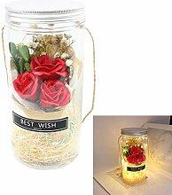 Seife Rose Blumenstrauß mit LED-Lichterketten In