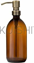 Seifenspender, braunes Glas, mit Edelstahl Pumpe,