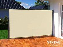 Seitenmarkise Sichtschutz Aluminium Seitenrollo Markise Seitenwand Terasse Balkon (180x300cm, creme)