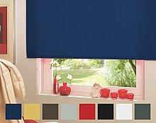 Seitenzugrollo Kettenzugrollo Tür Fenster Rollo Blau Dunkelblau Breite 62 cm bis 242 cm Höhe 160 cm Vorhang blickdicht halbtransparent lichtdurchlässig Sonnenschutz Sichtschutz Blendschutz (82 x 160 cm)