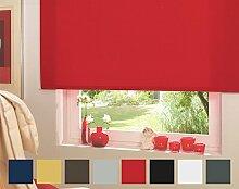 Seitenzugrollo Kettenzugrollo Tür Fenster Rollo Rot Breite 62 cm bis 242 cm Höhe 160 cm Vorhang blickdicht halbtransparent lichtdurchlässig Sonnenschutz Sichtschutz Blendschutz (202 x 160 cm)