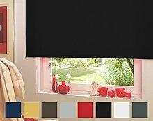 Seitenzugrollo Kettenzugrollo Tür Fenster Rollo Schwarz Breite 62 cm bis 242 cm Höhe 160 cm Vorhang blickdicht halbtransparent lichtdurchlässig Sonnenschutz Sichtschutz Blendschutz (62 x 160 cm)