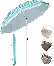 Sekey Φ2m Sonnenschirm Marktschirm Gartenschirm Terrassenschirm Rund Sonnenschutz UV25+ ,mit Schutzhülle,blau Streifen