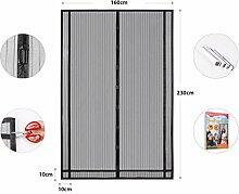 Sekey Magnetvorhang zum Insektenschutz, idealer magnetischer Fliegengitter für Balkontür, Kellertür, Terrassentür (zuschneidbar in Höhe und Breite) durch kinderleichte Klebemontage, schwarz,230*160cm