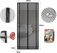 Sekey Magnetvorhang zum Insektenschutz, idealer magnetischer Fliegengitter für Balkontür, Kellertür, Terrassentür (zuschneidbar in Höhe und Breite) durch kinderleichte Klebemontage, schwarz, 220x100cm