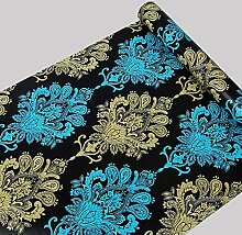 Selbstklebend Damast Tapete Kontakt Papier Regalen für Küche Schubladen Schränke Regale Theken Wand Aufkleber (45x 998,2cm, blau)