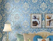 Selbstklebend Damast Tapete Kontakt Papier Regalen für Küche Schubladen Schränke Regale Theken Wand Aufkleber (52,5x 297,2cm, blau)