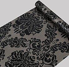 Selbstklebend Schwarz Damast Tapete Kontakt Papier Regalen für Küche Schubladen Schränke Regale Theken Wand Aufkleber (45x 998,2cm)