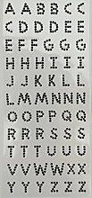 Selbstklebende Buchstaben, Strasssteine, verschiedene Farben schwarz