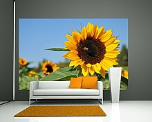 Selbstklebende Fototapete - Sonnenblume mit Biene