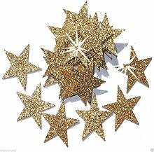 Selbstklebende Glitzer-Sterne, Stern-Aufkleber, zum Selbermachen und kreativen Gestalten von Karten, Weihnachten, 25 mm gold