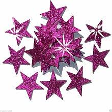 Selbstklebende Glitzer-Sterne, Stern-Aufkleber, zum Selbermachen und kreativen Gestalten von Karten, Weihnachten, 25 mm hot pink