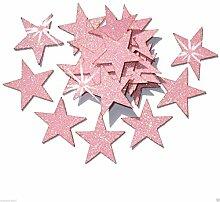 Selbstklebende Glitzer-Sterne, Stern-Aufkleber, zum Selbermachen und kreativen Gestalten von Karten, Weihnachten, 25 mm babyrosa