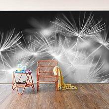 Selbstklebende Tapete - Fototapete - Bewegte Pusteblumen Nahaufnahme auf schwarzen Hintergrund, Wandtapete, Wandbild, Foto, Fotografie, Größe: 270cm x 432cm