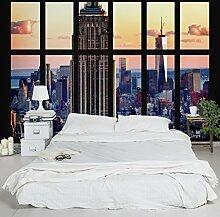 Selbstklebende Tapete - Fototapete - Fensterblick Empire State Building Sonnenuntergang, Wandtapete, Wandbild, Foto, Fotografie, Städte & Reisen, Städte, NYC, Skylines, Amerika, New York, Walks & Ausblicke, Größe HxB: 270cm x 432cm