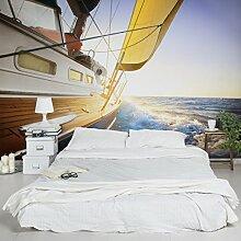 Selbstklebende Tapete - Fototapete - Segelboot auf blauem Meer bei Sonnenschein, Wandtapete, Wandbild, Foto, Fotografie, Größe: 270cm x 432cm