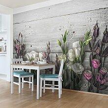 Selbstklebende Tapete - Fototapete - Tulpen-Rose Shabby Holzoptik, Wandtapete, Wandbild, Foto, Fotografie, Größe: 270cm x 432cm