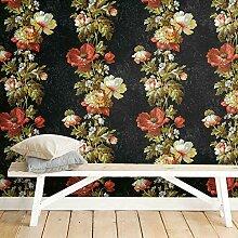 Selbstklebende Tapete mit Blumen im Vintage-Stil.