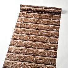 Selbstklebendes Vinyl Deco braun Brick Kontakt Papier abnehmbarer schälen und Stick Tapete für Wand-Arts Crafts Projekte Dekoration 45 x 500 cm