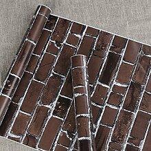 Selbstklebendes Vinyl dunkelbraun Brick Kontakt Papier schälen und Stick Tapete für Home Küche Badezimmer Wand Dekoration 45 x 1000 cm